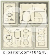 Royalty Free RF Clipart Illustration Of A Digital Collage Of Frames And Design Elements With Certificate Borders On Tan by BestVector