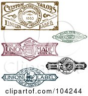 Royalty Free RF Clipart Illustration Of A Digital Collage Of Retro Union Labels by BestVector