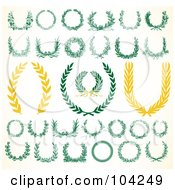 Royalty Free RF Clipart Illustration Of A Digital Collage Of Green And White Laurels And Wreaths by BestVector