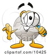 Clipart Picture Of A Soccer Ball Mascot Cartoon Character Looking Through A Magnifying Glass