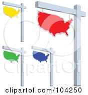 Royalty Free RF Clipart Illustration Of A Digital Collage Of Colorful USA For Sale Signs