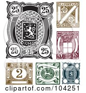 Royalty Free RF Clipart Illustration Of A Digital Collage Of Old World Stamp Designs by BestVector