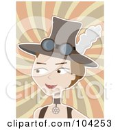 Royalty Free RF Clipart Illustration Of A Steam Punk Lady Wearing A Hat And Looking Left Over Swirls by mheld