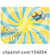 Royalty Free RF Clipart Illustration Of A Grungy Summer Sun Swirl With Palm Trees And Sandals by mheld