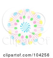 Royalty Free RF Clipart Illustration Of A Colorful Loli Pop Spiral Burst Over White by mheld