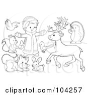 Royalty Free RF Clipart Illustration Of A Coloring Page Outline Of A Girl Playing Outside With Animals