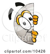 Clipart Picture Of A Soccer Ball Mascot Cartoon Character Peeking Around A Corner by Toons4Biz