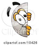 Soccer Ball Mascot Cartoon Character Peeking Around A Corner