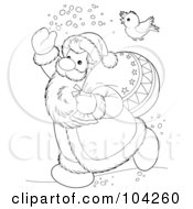 Royalty Free RF Clipart Illustration Of A Coloring Page Outline Of A Bird Flying Over Santa
