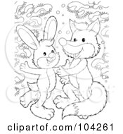 Royalty Free RF Clipart Illustration Of A Coloring Page Outline Of A Rabbit And Fox Dancing In The Snow