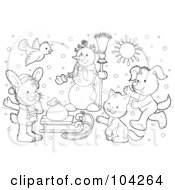 Royalty Free RF Clipart Illustration Of A Coloring Page Outline Of A Winter Snowman And Animals By A Sled