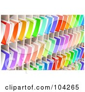 Royalty Free RF Clipart Illustration Of A Wall Of Colorful 3d Folders And Documents Organized And Archived In Shelves by Tonis Pan