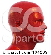 3d Bust Head Made Of Red Jigsaw Puzzle Pieces