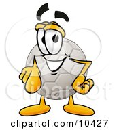 Clipart Picture Of A Soccer Ball Mascot Cartoon Character Pointing At The Viewer by Toons4Biz