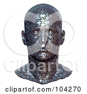 3d Metal Bust Head Made Of Jigsaw Puzzle Pieces