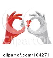 Poster, Art Print Of 3d White And Red Puzzle Hands Holding Puzzle Pieces And Working Together To Solve A Problem