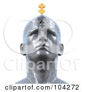 Royalty Free RF Clipart Illustration Of A 3d Puzzle Head With The Final Golden Piece Floating Over The Empty Space by Tonis Pan