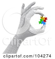 Royalty Free RF Clipart Illustration Of A 3d Puzzle Hand Holding Colorful Puzzle Pieces