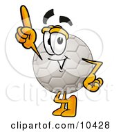 Clipart Picture Of A Soccer Ball Mascot Cartoon Character Pointing Upwards