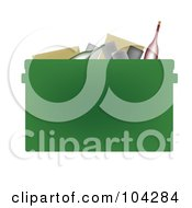 Royalty Free RF Clipart Illustration Of A Bottles And Cans In A Green Recycle Bin by JR