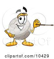 Soccer Ball Mascot Cartoon Character Holding A Pointer Stick