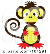 Royalty Free RF Clipart Illustration Of A Cute Brown Red And Yellow Monkey With A Curled Tail #104291 by kaycee