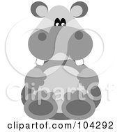 Cute Gray Hippo Sitting