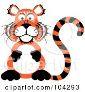 Royalty Free RF Clipart Illustration Of A Tiger Sitting Up On His Hind Legs And Rubbing His Belly