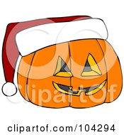 Royalty Free RF Clipart Illustration Of A Halloween Pumpkin Wearing A Santa Hat