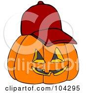 Royalty Free RF Clipart Illustration Of A Halloween Pumpkin Wearing A Red Baseball Cap