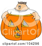 Royalty Free RF Clipart Illustration Of A Chubby Boy In A Giant Halloween Pumpkin