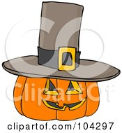 Halloween Pumpkin Wearing A Pilgrim Hat