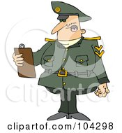 Royalty Free RF Clipart Illustration Of An Army Man Reading A List From A Clipboard by djart