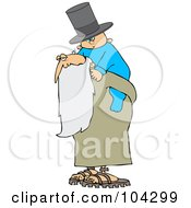 Royalty Free RF Clipart Illustration Of A New Year Baby Wearing A Top Hat And Riding On Father Times Back