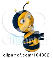 Royalty Free RF Clipart Illustration Of A 3d Bee Character Smiling And Looking At A Blank Sign
