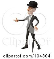 3d English Businessman With An Umbrella Pointing Left