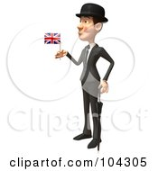 3d English Businessman Facing Left With An Umbrella And Union Jack Flag