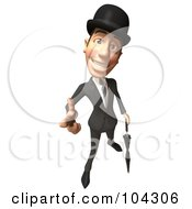 Royalty Free RF Clipart Illustration Of A 3d English Businessman With An Umbrella Pointing Out