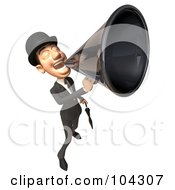 3d English Businessman With An Umbrella Announcing With A Megaphone - 2