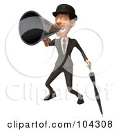 Royalty Free RF Clipart Illustration Of A 3d English Businessman With An Umbrella Announcing With A Megaphone 1