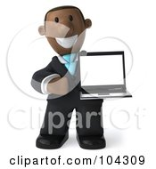3d Black Business Man Facing Right And Holding A Laptop