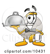 Soccer Ball Mascot Cartoon Character Dressed As A Waiter And Holding A Serving Platter