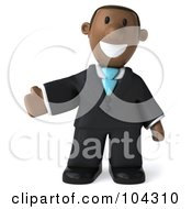 Royalty Free RF Clipart Illustration Of A 3d Black Business Man Facing Right And Gesturing To The Left