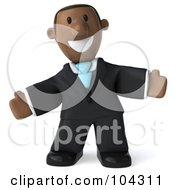 Royalty Free RF Clipart Illustration Of A 3d Black Business Man Facing Right With His Arms Open
