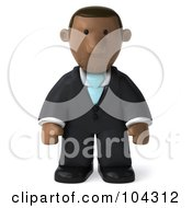 Royalty Free RF Clipart Illustration Of A 3d Black Business Man Pouting And Facing Frong