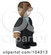 Royalty Free RF Clipart Illustration Of A 3d Black Business Man Standing And Facing Right