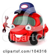 3d Red Automobile Mechanic Holding A Wrench