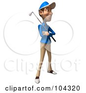 Royalty Free RF Clipart Illustration Of A 3d Skinny Golfer Guy Facing Right With A Club Across His Chest