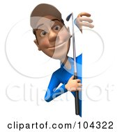 Royalty Free RF Clipart Illustration Of A 3d Skinny Golfer Guy Smiling And Peeking Around A Blank Sign