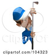 Royalty Free RF Clipart Illustration Of A 3d Skinny Golfer Guy Smiling Around A Blank Sign by Julos